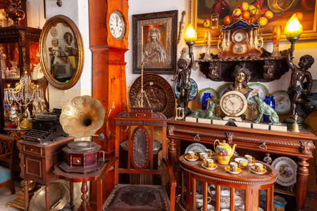 Antique items in an antique shop