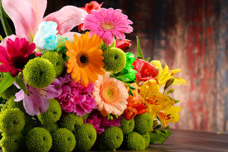 Bouquet of chrysanthemums and gerberas