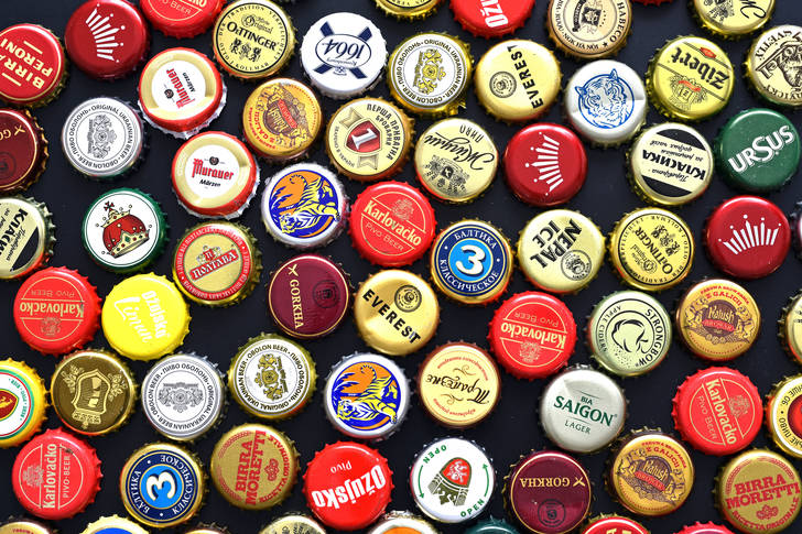 Large collection of beer caps