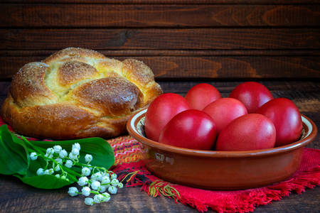 Kozunak and Easter eggs on the table