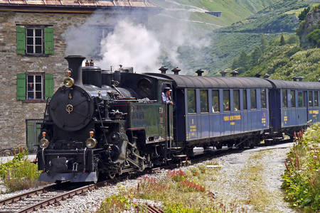 Steam locomotive on the Furka pass