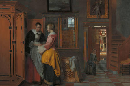 "Pieter de Hooch: ""Interior with women beside a linen cupboard"""