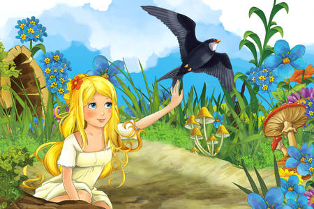 Thumbelina with a swallow