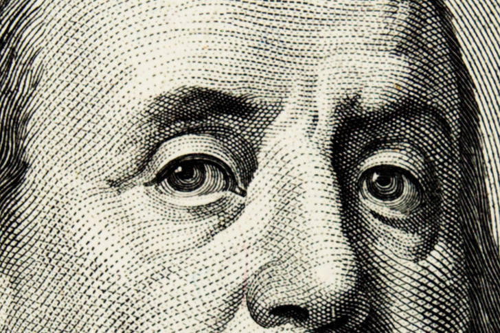 Franklin on a hundred dollar bill