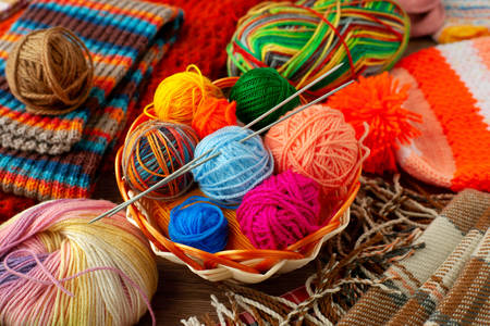 Multi-colored yarn in a basket