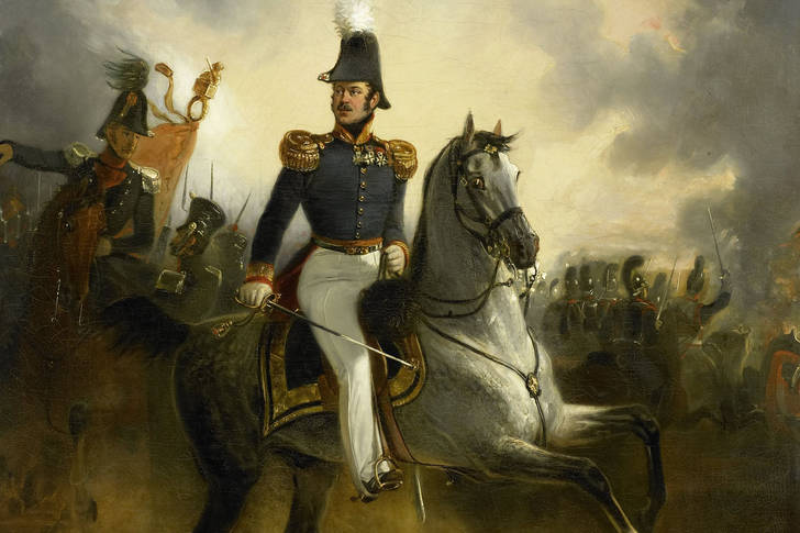 "Nicolaas Pieneman: ""Lieutenant General Frederik Knotzer in the battle of Houthalen, during the Ten Day Campaign"""