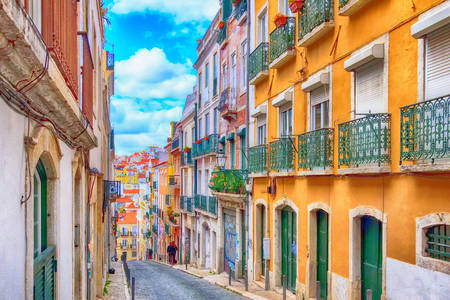 Street with traditional houses in Lisbon