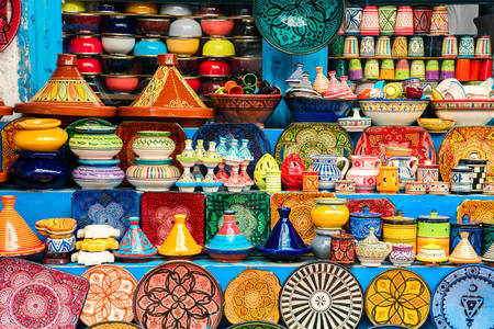 Moroccan colorful pottery