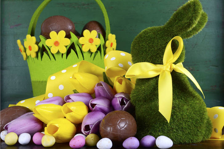 Rabbit, tulips and easter eggs