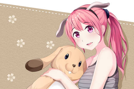 Anime girl with bunny