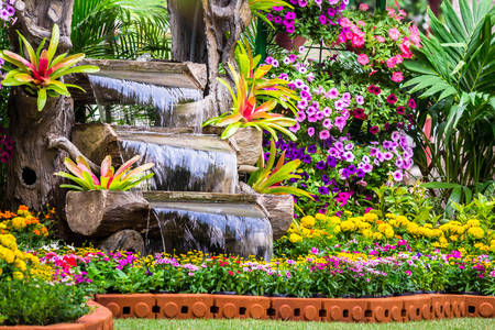 Small waterfall in the garden