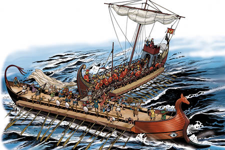 Ancient Rome ships illustration