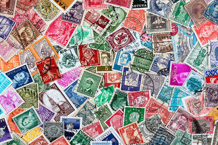 Postage stamps of different countries and times