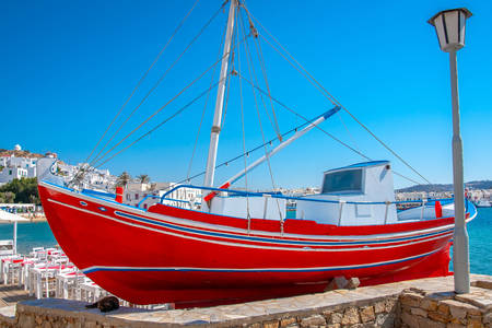 Boat in the port of Mykonos island