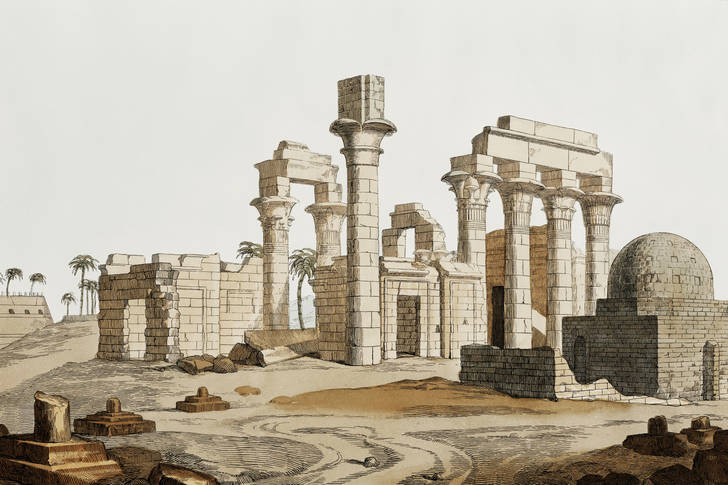 Illustration of the ruins of the temple in Ermans