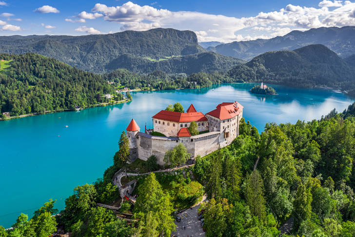 Aerial view of Bled Castle