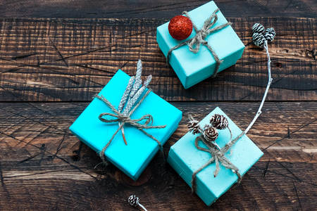 Christmas gifts in blue