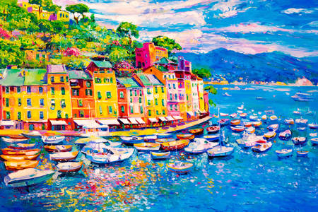Colorful city by the sea