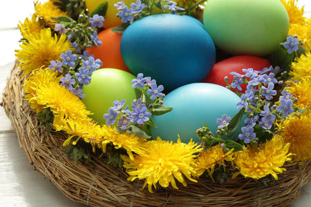 Easter eggs in spring colors