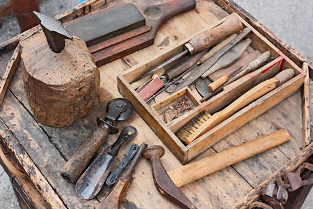 Work table with old tools