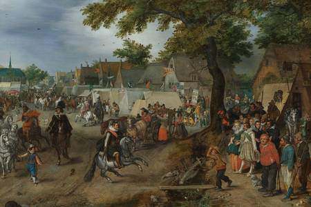"Adriaen van de Venne:""Princes Maurice and Frederick Henry at the Valkenburg Horse Fair"""