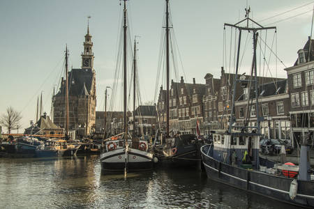 Harbor in the city of Hoorn