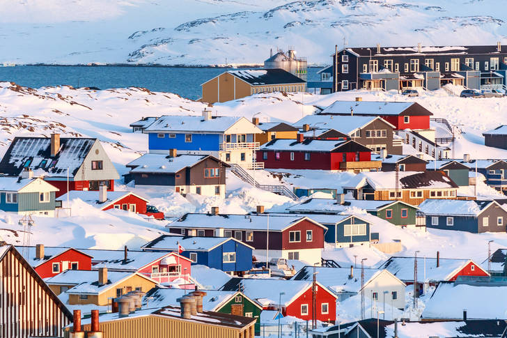 Snow-covered city of Nuuk