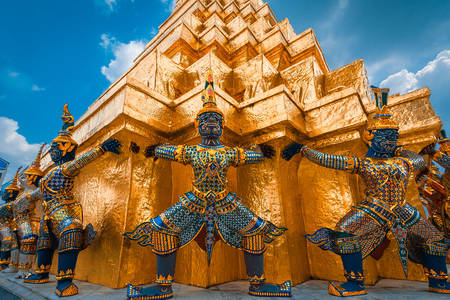 Giant Statues in the Temple of the Emerald Buddha