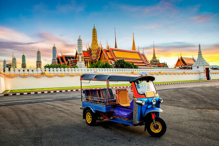 "Rickshaw at the temple of the ""Emerald Buddha"""