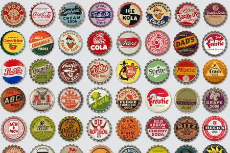 Old beer and soda lids