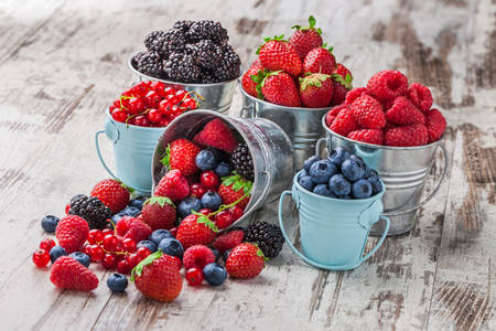 Berries in buckets