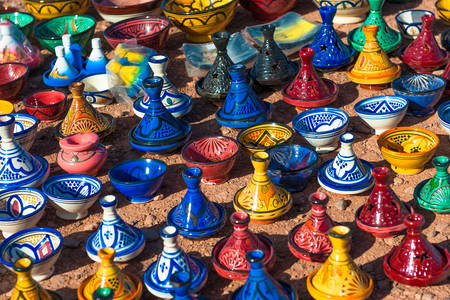 Colorful ceramic tajins