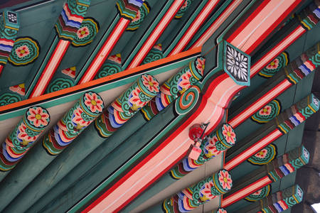 Details of a traditional Korean roof