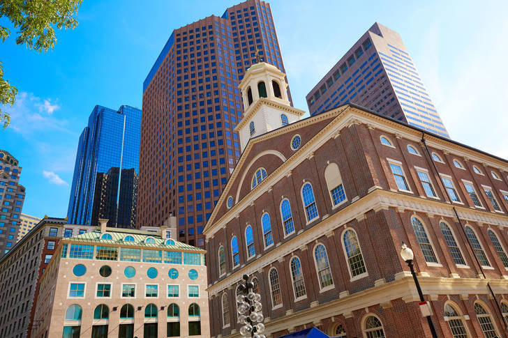 View of Faneil Hall and Boston skyscrapers