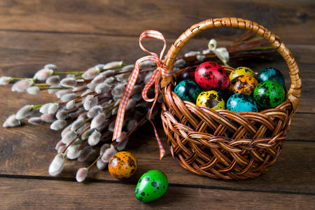 Easter quail eggs in a basket
