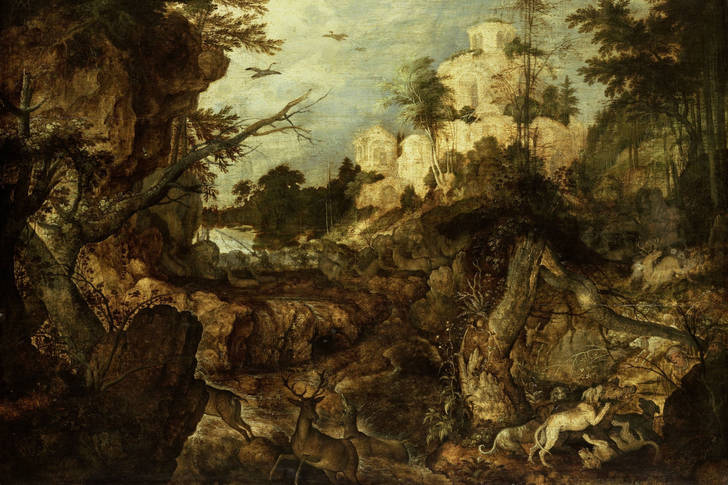 "Roelant Saverei: ""Rocky landscape with wild boar hunting"""