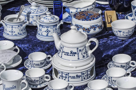 Porcelain service at a flea market