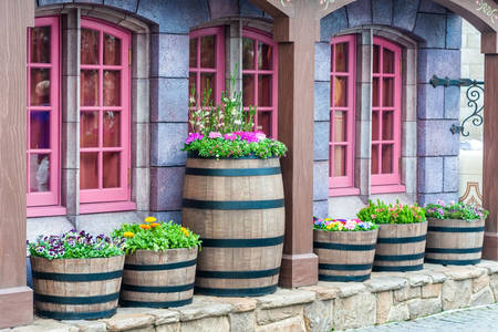 Decor from wooden barrels