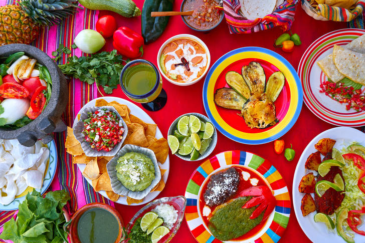 Mexican food on a colorful table
