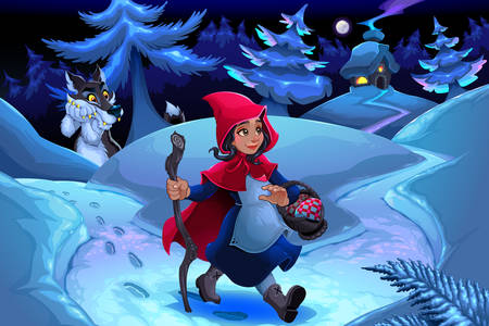 Little Red Riding Hood in the winter forest