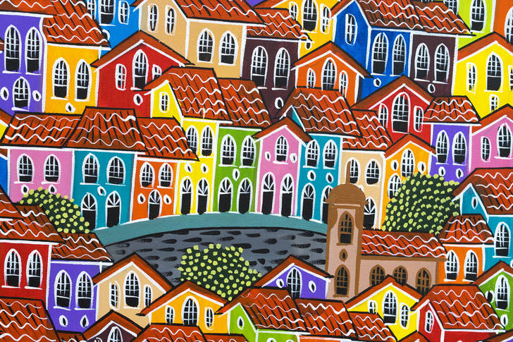 Painting colorful houses