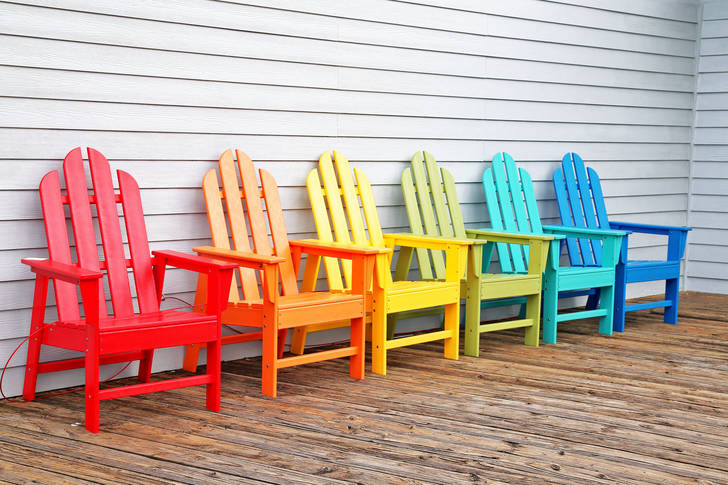 Multicolored wooden chairs