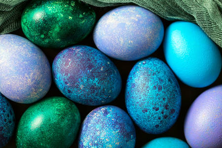 Blue green easter eggs