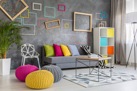 Modern living room with colorful elements